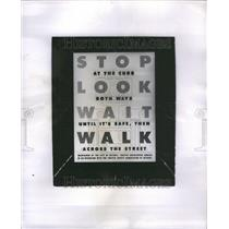 1949 Press Photo Safety Poster Stop Look Wait Walk