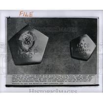 1959 Press Photo Soviet Cosmic Rocket Pennants Moon - RRX66901