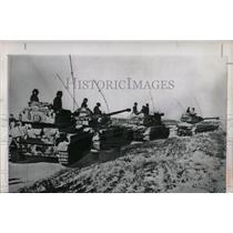 1957 Press Photo Line of Israeli Tanks on Rafa Road - RRX63055