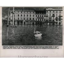 1963 Press Photo Lake Como Italy River Floods Disaster