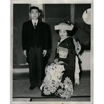 1948 Press Photo Shinto Wedding Bride Groom Traditional - RRX70321