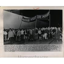 """1963 Press Photo March for """"Where Will the Wall Fall."""""""