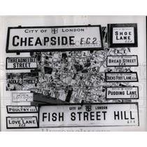 1954 Press Photo Threadneedle Strut England Bank Cheep