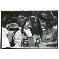 1991 Press Photo Cubs Fan Smokes Cigarette