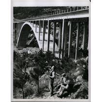 1956 Press Photo Workers Break Highway Genoa Savona - RRX71875