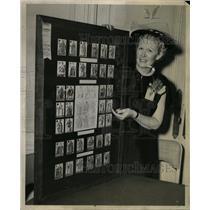 1956 Press Photo Card Collector Dorothy Powills