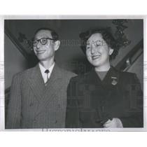 1953 Press Photo Rev. Kocho Otani Chief Buddist Abbot and his wife Satoko arriv