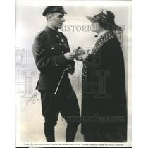 1944 Press Photo Copy Sophia Tucker Gives Corporal Darby Holmes A Package