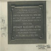 1914 Press Photo Philip Danforth Armour Bronze Tablet