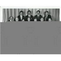 1983 Press Photo Pat Summerall, John Madden, Tim Ryan covers Super Bowl XVIII