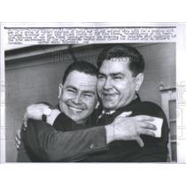 1958 Press Photo Joseph Polowskyi embraces Alexei Maresev one of a group of Sovi