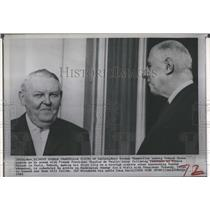 1963 Press Photo West German Chancellor Erhard & French Pres Charles de Gaulle