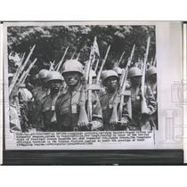 1960 Press Photo Congolese soldiers review for President Joseph Kasavubu