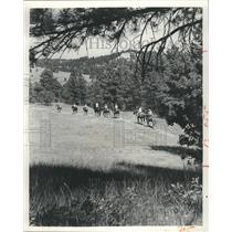 1974 Press Photo Horseback riding in Nebraska