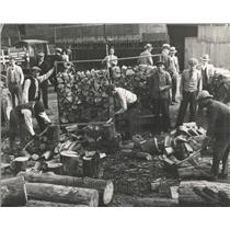 1931 Press Photo Men Chopping Wood in Detriot - RRR87331