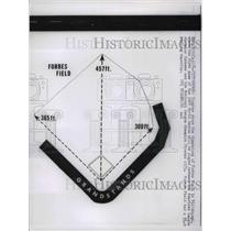1960 Press Photo Diagram of Dimensions of Forbes Field In Pittsburgh