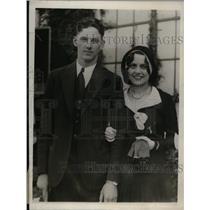 1930 Press Photo Washington Senators First Baseman Joe Kuhal With His Wife
