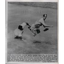 1951 Press Photo Card 2b Solly Hemus out at 2nd by W Terwilliger of Dodgers