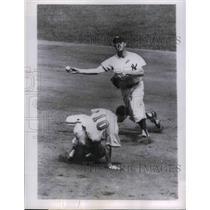 1957 Press Photo Billy Goodman of Baltimore, Gerry Coleman of Yankees