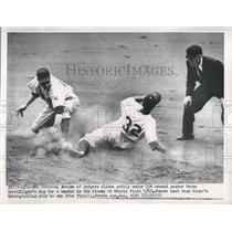 1951 Press Photo Cal Abrams slides safely under Cubs' Wayne Terwilliger's tag