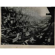 1918 Press Photo U.S. Destroyer Ship Under Construction - nex01662
