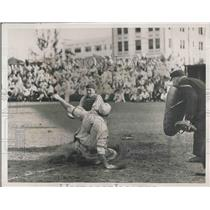 1936 Press Photo Boston Redlegs Sarcella Sliding Safely into Home by Conroy