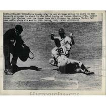1948 Press Photo Athletics Eddie Joost out at home vs Yankees Gus Niarhos