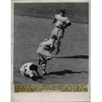 1952 Press Photo Larry Doby Indians Out At 2nd By Bobby Doerr Boston Red Sox MLB