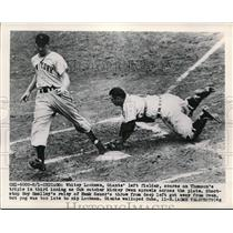 1949 Press Photo Giant Whitey Lockman scoires vs Cub catcher Mickey Owen