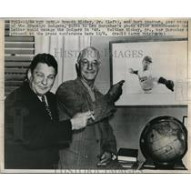 1947 Press Photo Branch Rickey Jr & Burt Shotton of Brooklyn Dodgers
