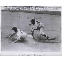 1951 Press Photo Yankees Joe Collins Forced at 2nd on Yogi Berra's Grounder