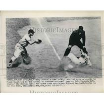 1949 Press Photo Grady Hatton Reds Safe At 3rd Sid Gordon Giants Waits For Throw