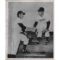1952 Press Photo Alvin Dark Shortstop Giants Dave Williams 2nd Baseman MLB `