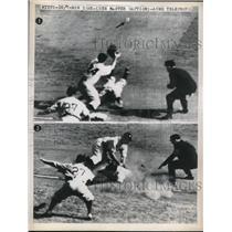 1947 Press Photo Baseball player slides into base - nes01221