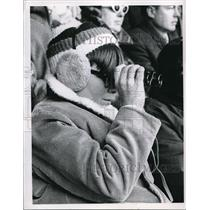 1956 Press Photo Cleveland Indian fan in the stands at a game - nes00257