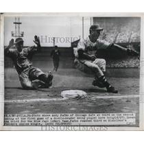 1948 Press Photo Cubs Andy Pafko safe at 3rd vs Blue Jays Bert Haas - nes01930