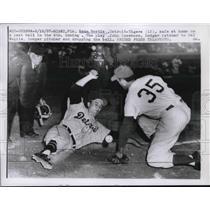 1957 Press Photo Detroit Tigers Reno Bortia Slides Home, Sal Maglie, Dodgers