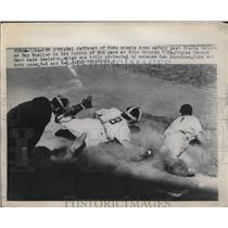 1949Cub Hal Jeffcoat steals home vs Ray Mueller of Giants Press Photo