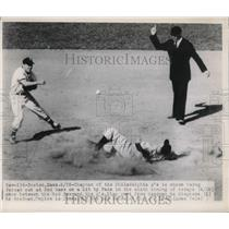 1948 Press Photo Phila As Chapman out at 2nd vs Red Sox Goodman - nes01832