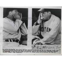 1949 Press Photo Boston Red Sox mgr Joe McCarthy in candid shots - nes01667