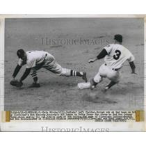 1950 Press Photo Cleveland Indians Left Fielder Dale Mitchell Forced Out at 2nd
