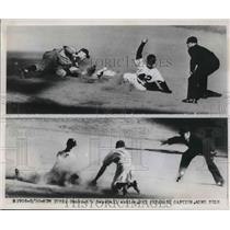 1949 Press Photo New York Yankees and Athletics Action - nes02044
