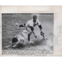 1949 Press Photo Ferris Pain Athletics Yankees Bill Johnson - nes01631
