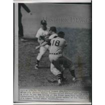1954 Press Photo Tigers Steve Gromek Hit by Pitch Charges A's Marion Fricano