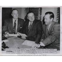 1951 Press Photo Tom McCaffrey, Joe Cronin of Boston Red Sox, Johnny Murphy