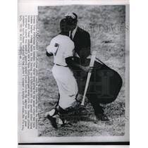 1955 Press Photo Home Plate Umpire John Flatery & Kansas City A's Vic Power