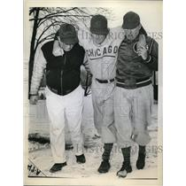 1944 Press Photo Cubs Paul Derringer Helped Off Field, Andy Lotshaw, Roy Johnson