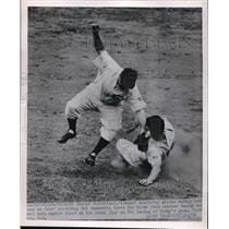 1951 Press Photo George Strickland of Pirates Slides, Bob Ramazotti of Cubs