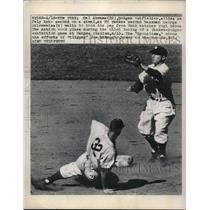 1949 Press Photo Cal Abrams Dodgers Steals 2nd George Stirnweiss Yankees MLB
