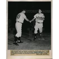 1952 Press Photo Indians Merrill Coombe & Dale Mitchell vs the Dodgers